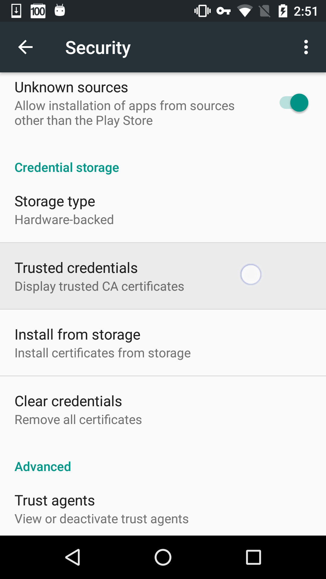 Select the Trusted Credentials Tab.